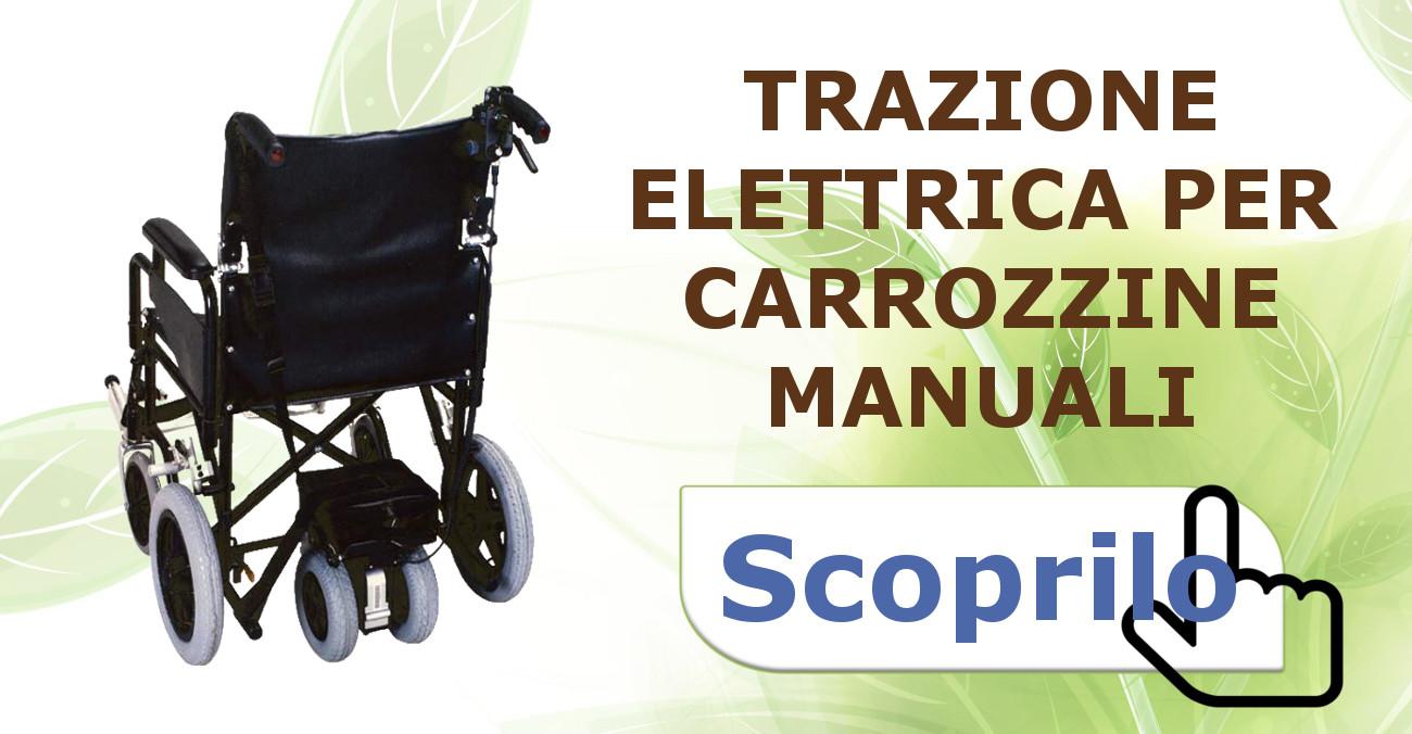 Dispositivo di trazione, propulsione per carrozzelle, facilitatore di spinta, carrozzella elettronica