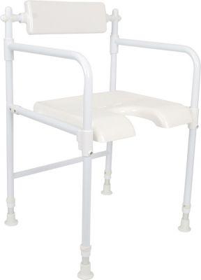 Sedia da doccia pieghevole in alluminio bianco
