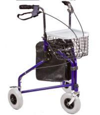 Rollator pieghevole a 3 ruote con cestino, vassoio e borsa